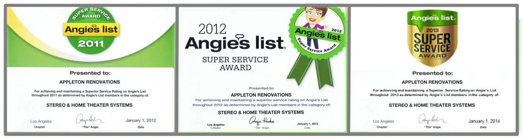 """For the third year in a row… Appleton Renovations has been awarded by Angie's List the 2013 """"Super Service Award"""""""