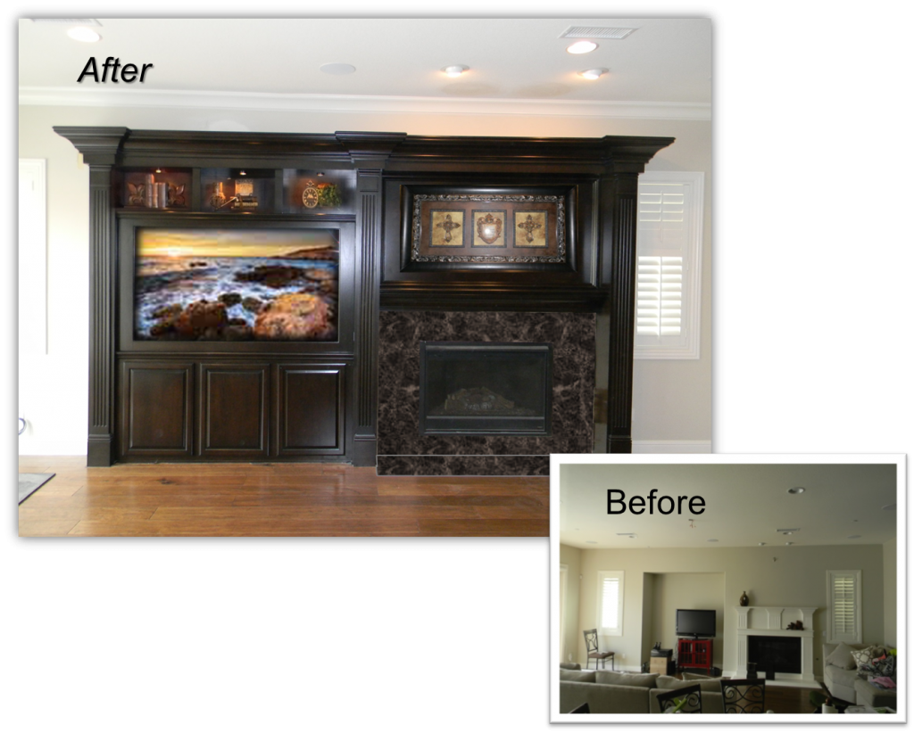 Hand Crafted Custom Fireplace Entertainment Centers by: www.AppletonRenovations.com For a FREE Design Consultation Call us at (949) 887-6764 or email us Sales@AppletonRenovations.com