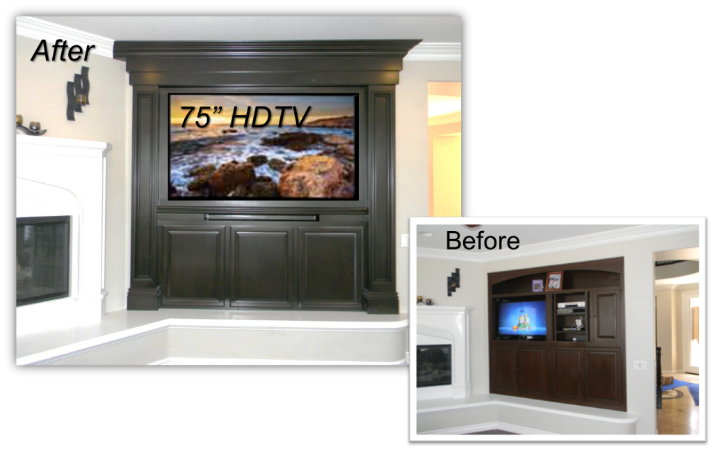 """""""We recently purchased our home and were frustrated with the entertainment center that limited us to a very small TV…. We contacted Appleton Renovations and were very happy to discover they handled the entire Home Theater & Custom cabinet. Our experience with Appleton Renovations has been great… Everything was completed on time as promised, such a rarity with tradesman…  Now that it's complete… We can't believe how big our room now feels! Klein, Ladera Ranch, CA Hand Crafted  Built-Ins & Entertainment Centers by: www.AppletonRenovations.com  For a FREE Design Consultation Call us at (949) 887-6764 or email us Sales@AppletonRenovations.com  Custom Cabinets Orange County CA"""