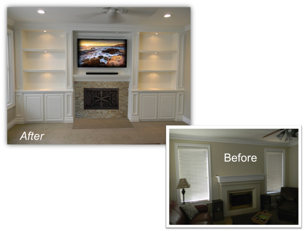 Hand Crafted Custom Fireplace Entertainment Centers by: www.AppletonRenovations.com