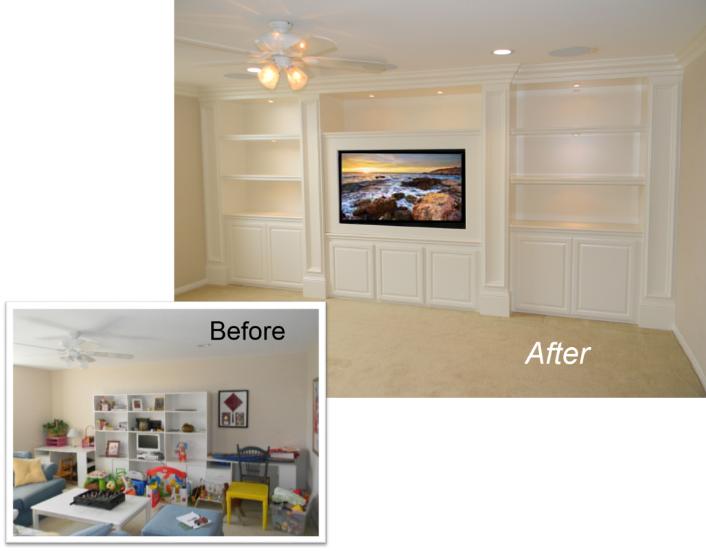 Entertainment Center, Custom Cabinet, Home Theater, Built-In