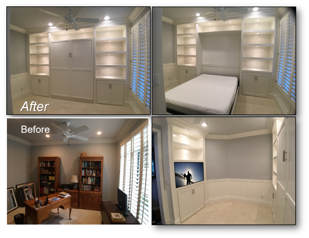 Custom Built-Ins – Entertainment Centers – Home Theater Solutions by: www.AppletonRenovations.com (949) 887-6764 Sales@AppletonRenovations.com Custom Cabinets Orange County CA Schaeffer Murphy Bed Before-After912218