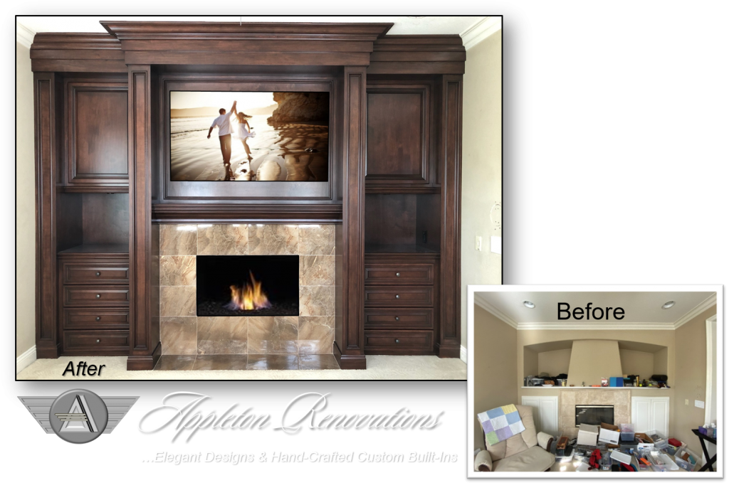 Custom Built-Ins - Entertainment Centers - Home Theater Solutions by: www.AppletonRenovations.com (949) 887-6764 Sales@AppletonRenovations.com Custom Cabinets Orange County CA #CustomBuilt-Ins #CustomCabinets CustomEntertainmentCenters #HomeTheater