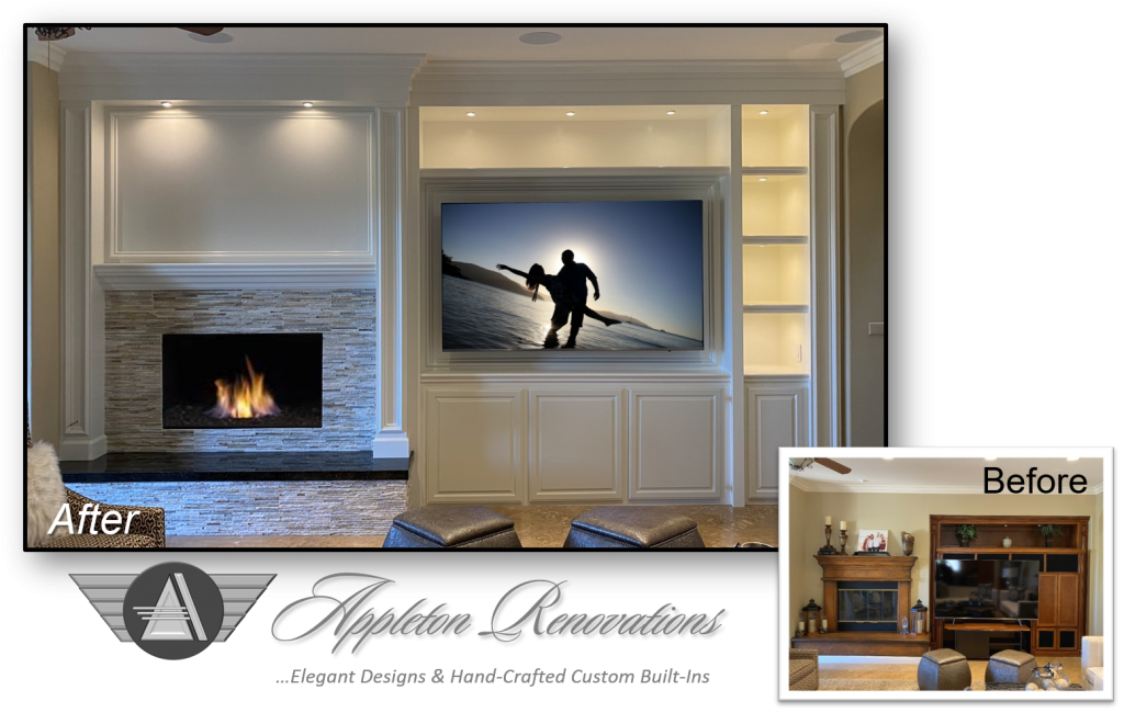 Custom Built-Ins – Entertainment Centers – Home Theater Solutions by: www.AppletonRenovations.com (949) 887-6764 Sales@AppletonRenovations.com Custom Cabinets Orange County CA #CustomBuiltIns #CustomCabinets CustomEntertainmentCenters #HomeTheater #AppletonRenovations Meinsen 122120 before-after