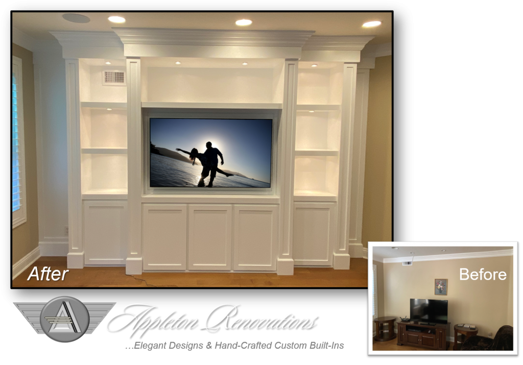 Custom Built-Ins – Entertainment Centers – Home Theater Solutions by: www.AppletonRenovations.com (949) 887-6764 Sales@AppletonRenovations.com Custom Cabinets Orange County CA #CustomBuiltIns #CustomCabinets CustomEntertainmentCenters #HomeTheater #AppletonRenovations Meinsen 122120 before-after Custom Built-Ins – Entertainment Centers – Home Theater Solutions by: www.AppletonRenovations.com (949) 887-6764 Sales@AppletonRenovations.com Custom Cabinets Orange County CA #CustomBuiltIns #CustomCabinets #CustomEntertainmentCenters #HomeTheater #AppletonRenovations