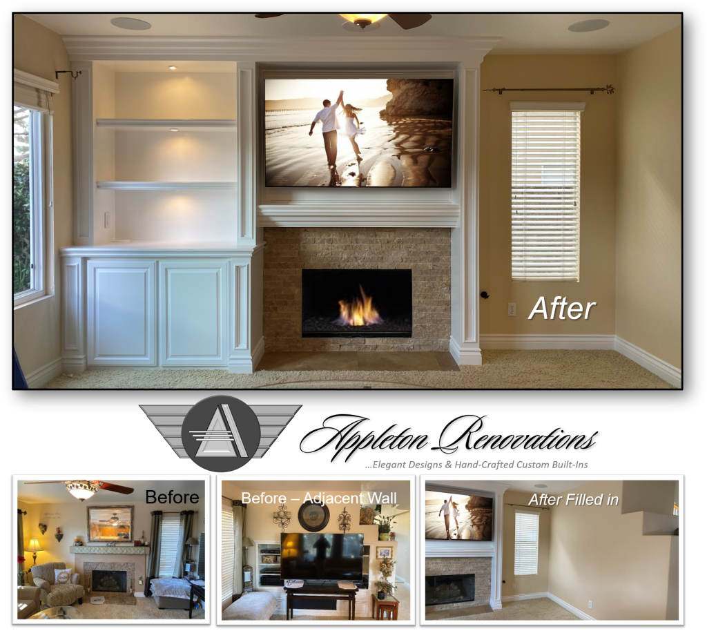 Custom Built-Ins – Entertainment Centers – Home Theater Solutions by: www.AppletonRenovations.com (949) 887-6764 Sales@AppletonRenovations.com Custom Cabinets Orange County CA #CustomBuiltIns #CustomCabinets #CustomEntertainmentCenters #HomeTheater #AppletonRenovations
